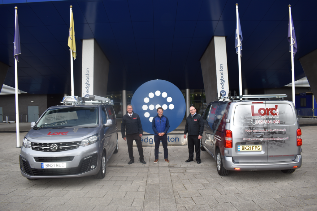 L To R Lord Combustion Services Director Mark Chapman, Edgbaston Commercial Partnerships Executive Scott Elstone And Lord Md Stuart Smith