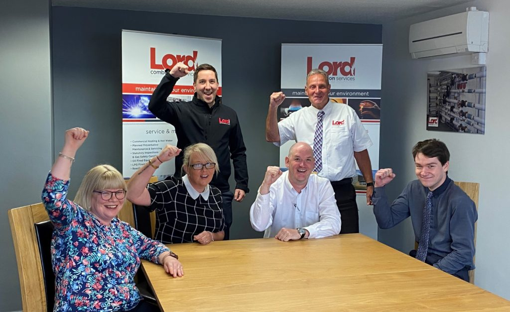 Lord Combustion Services Directors Greg Jones And Mark Chapman Celebrate Their Awards Finalist Placings With Jill Sidebottom Suzanne Birch Peter Drew And Matthew Smith